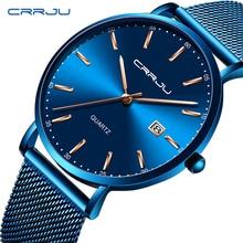 2019 New Mens Watches CRRJU Top Brand Luxury Waterproof Wrist Date Simple Casual Quartz Watch Men Blue Sports Clock