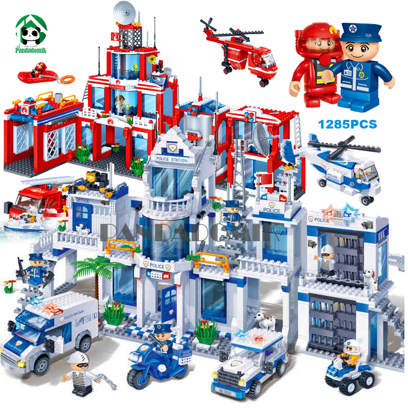 Extra Large Police Station 1285Pcs Building Blocks City Fire Constructor set Educational Toys for Children Compatible lepin lepin 02012 city deepwater exploration vessel 60095 building blocks policeman toys children compatible with lego gift kid sets