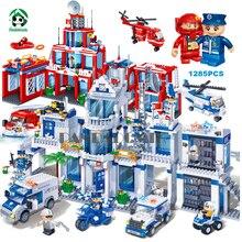 Extra Large Полицейский участок 1285 Шт. Строительные Блоки Город Своих Конструктор набор Обучающие Игрушки для Детей Совместимость лепин