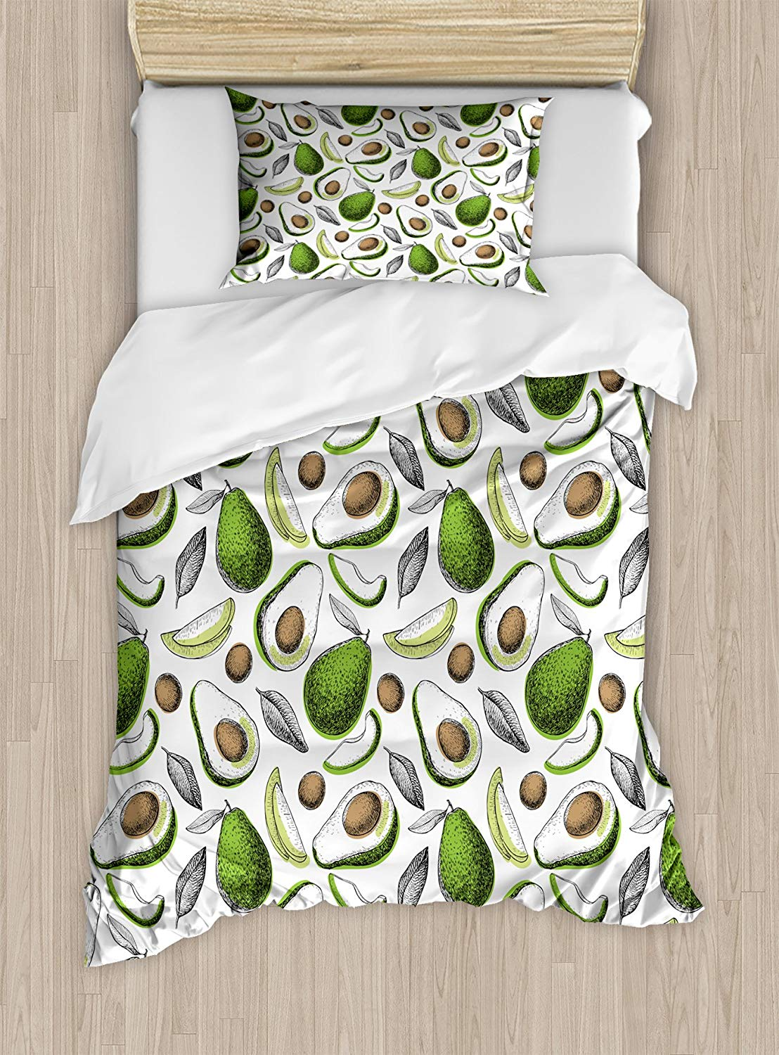 Vegetables Duvet Cover Set Twin Size, Organic Avocado Leaves Detox Antioxidant Lifestyle Stay Young PrintVegetables Duvet Cover Set Twin Size, Organic Avocado Leaves Detox Antioxidant Lifestyle Stay Young Print