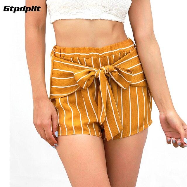 787b91ed48 Gtpdpllt 2018 verano Shorts mujeres alta cintura arco pantalones cortos  Mujer short Casual amarillo rayas Playa