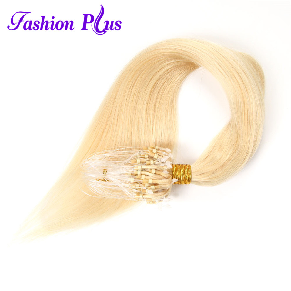 Fashion Plus Micro Loop Ring Hair Extension Remy 613Micro Ring Hair Extensions 1g/s Micro Link colored hair locks colored strand