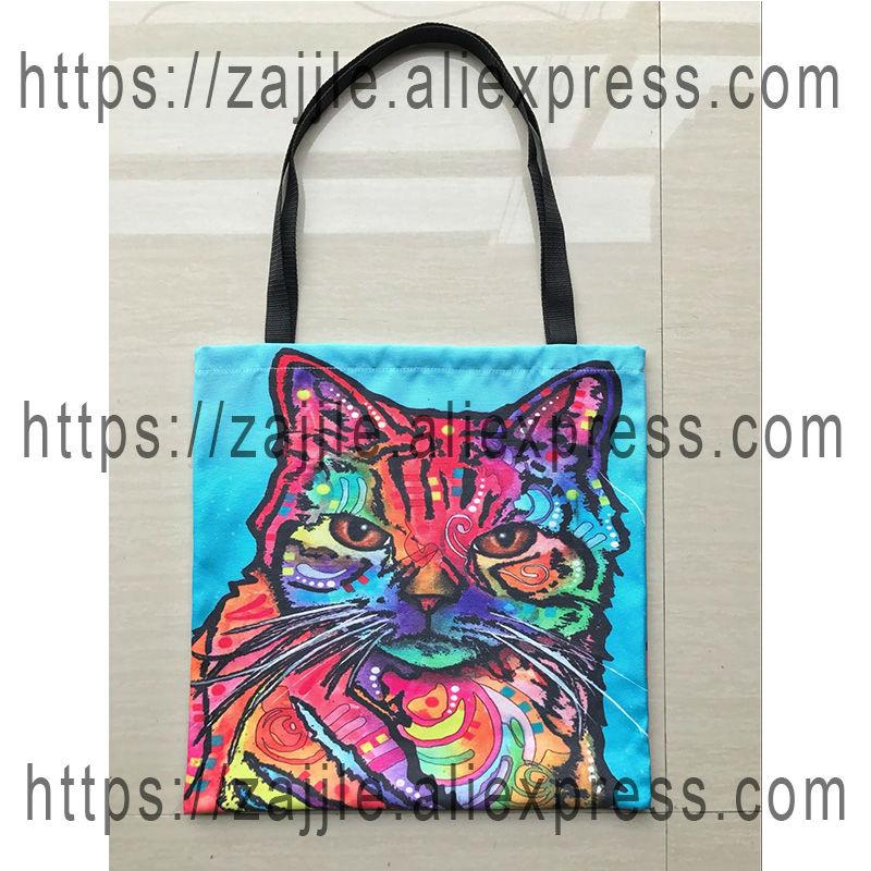 Cute Canvas Tote Bag Portrait Pet Art Illustration Retrato de perro - Bolsos - foto 4