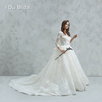 Three Quarter Sleeve Wedding Dress Ball Gown Lace Appliqued Beaded Luxury High Quality Bridal Gown
