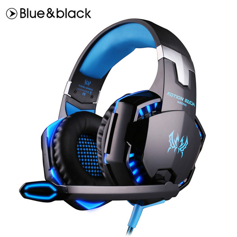 Hot G2000 Gaming Headset Deep Bass Game Headphone Stereo Surrounded Over-Ear Headband Earphone with Light for Computer PC Gamer professional over ear headband stereo bass wired game gaming headset headphone with microphone for computer pc laptop gamer
