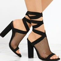 New Summer Sexy Mesh Slingbacks Shoes Women High Heels Sandals Woman Lace up Gladiator Ankle Strap Open Toe Party Shoes