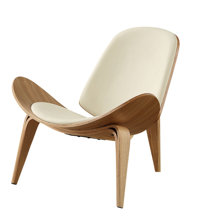 A Solid Wood Three-Legged Shell Chair Ash Plywood Black Faux Leather Living Room Furniture  Modern Shell Chair Leisure ChairA Solid Wood Three-Legged Shell Chair Ash Plywood Black Faux Leather Living Room Furniture  Modern Shell Chair Leisure Chair