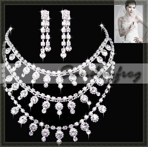 Fast Free Shipping! Gorgeous Alloy with Rhinestones and Crystal Wedding Bridal Jewelry Set Including Necklace and Earrings -JV35