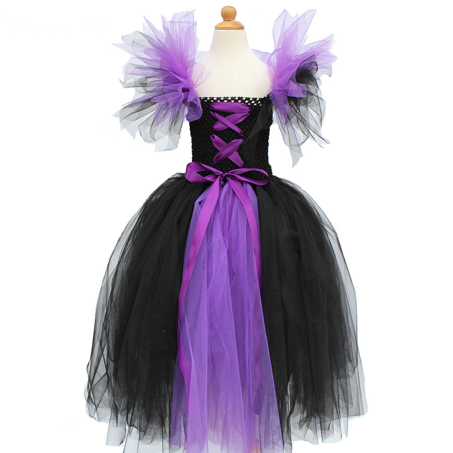 Girls Maleficent Evil Queen Cosplay Costume Halloween Tutu Dress Children Witch Costume Fancy Kids Birthday Party Princess Dress