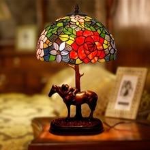 Flor de vidro manchado resina cavalo luxo quarto cabeceira jardim candeeiros mesa luzes para sala estar escritório balcão barra decoração