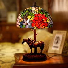 Stained Glass Flower Resin Horse Luxury Bedroom Bedside Garden Table Lamps Lights For Living Room Office Bar Counter Decoration