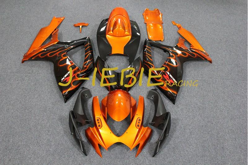 Black orange fire Injection Fairing Body Work Frame Kit for SUZUKI GSXR 600/750 GSXR600 GSXR750 2006 2007