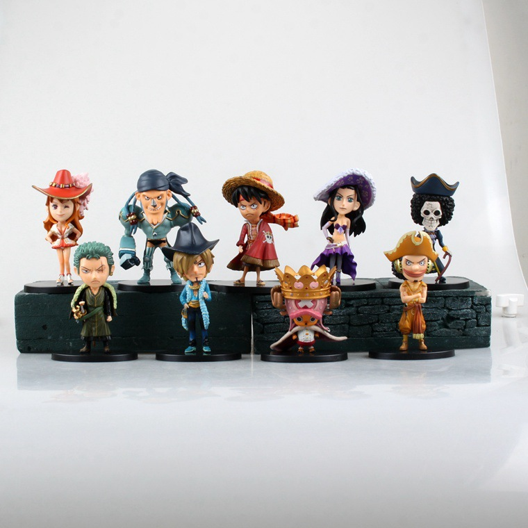 9pcs/set Anime One Piece The 15th Anniversary Luffy Zoro Nami Robin Sanji PVC Action Figure Collectible Model Toy KT1231 anime one piece 6pcs set gear fourth luffy zoro franky sanji doflamingo pvc action figure collectible model toy 7cm 8 5cm kt2384