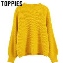 2019 Women Cute Lantern Sleeves Knit Sweaters Winter Warm Comfy Oversize Knitted Jumper for Women Beige Yellow