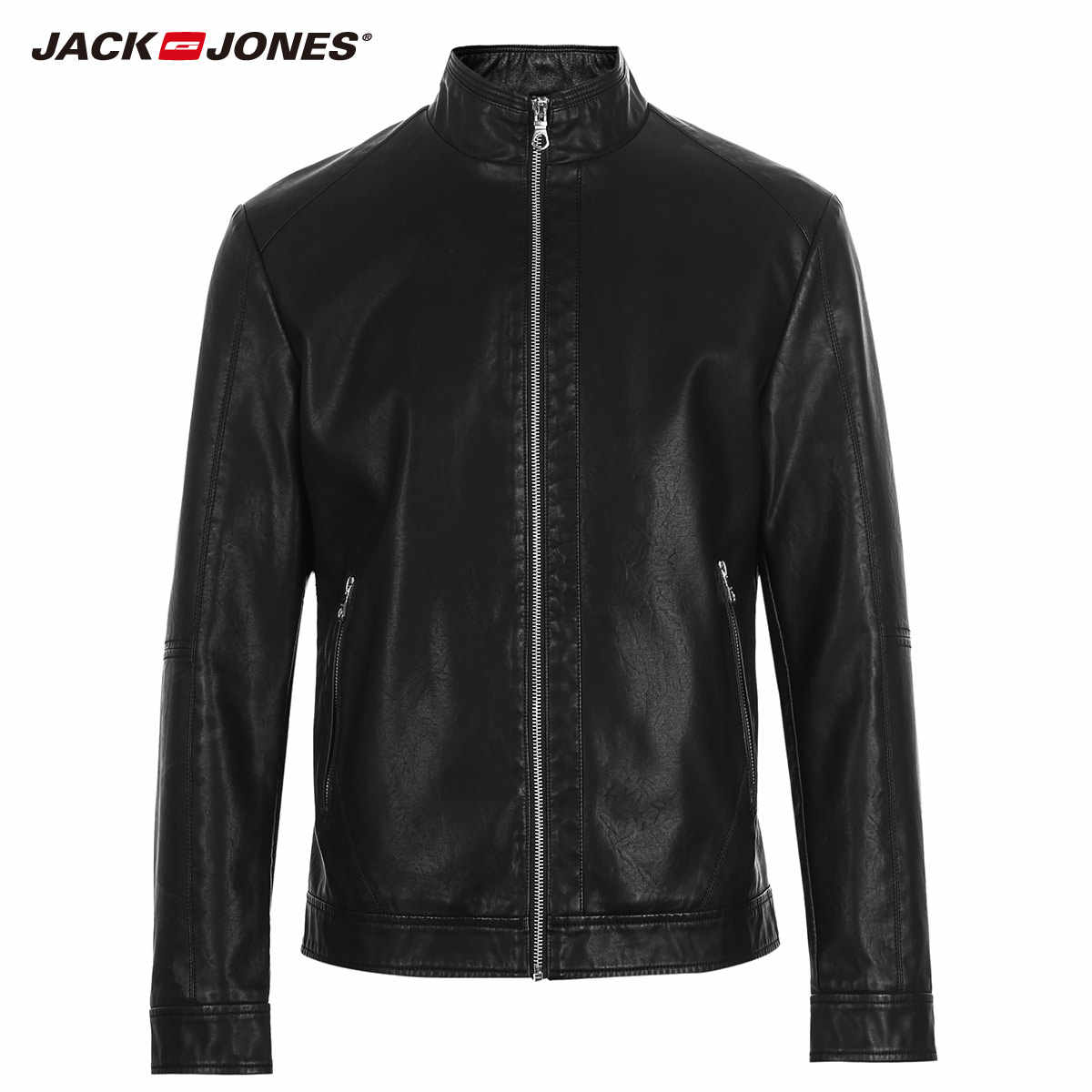Mlmr Новый Для Мужчин's стильный короткий черный воротник-стойка из искусственной кожи байкерская куртка повседневная верхняя одежда JackJones бренд осень-218121530