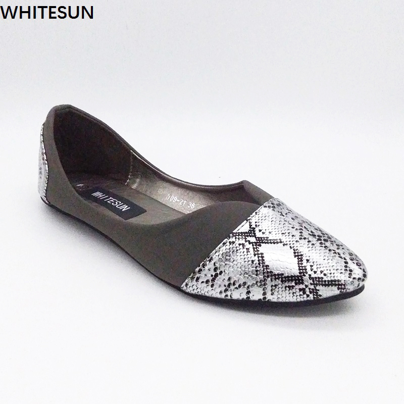 WHITESUN flock Snake leather women shoes slip on soft sole shallow mouth single shoes summer woman casual flats large size shoes кошельки leo ventoni кошелек