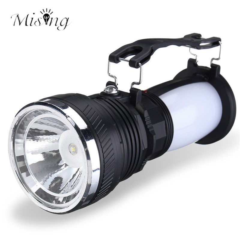 Mising Portable LED Solar Flashlight Rechargeable Camping Lighting High-Brightness Emergency Tent Lights Ourdoor Hiking Lantern