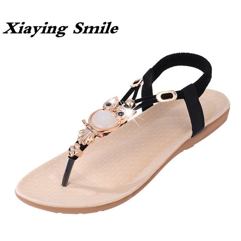 Xiaying Smile Summer New Woman Sandals Casual Fashion Shoes Beach Bohemian Style Flats Bling Crystal Slip On Owl Women Shoes xiaying smile woman flats women brogue shoes loafers spring summer casual slip on round toe rubber new black white women shoes