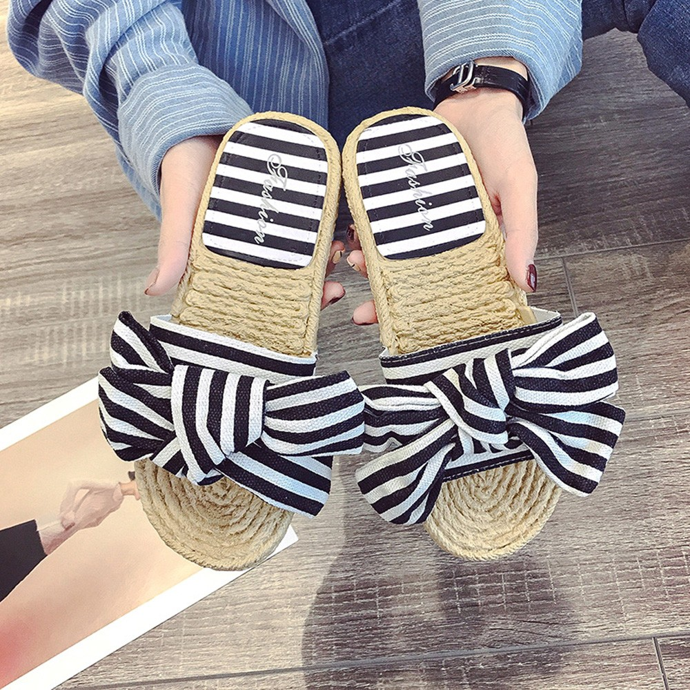 G019 Summer Fashion Flat Shoes Women Flip Flop Patchwork Bow Round Toe Flat Heel Sand contrast bow flat sliders