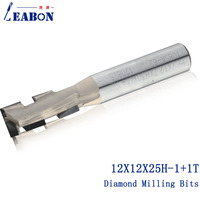 LEABON 12*12*25H 1+1T Diamond two flute spiral CNC router bits/ Milling cutter / woodworking bits/end mill for MDF,Plywood