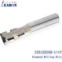 Leabon 12*12*25h-1 + 1 t 다이아몬드 두 플루트 나선형 cnc 라우터 비트/밀링 커터/목공 비트/mdf  합판 용 엔드 밀