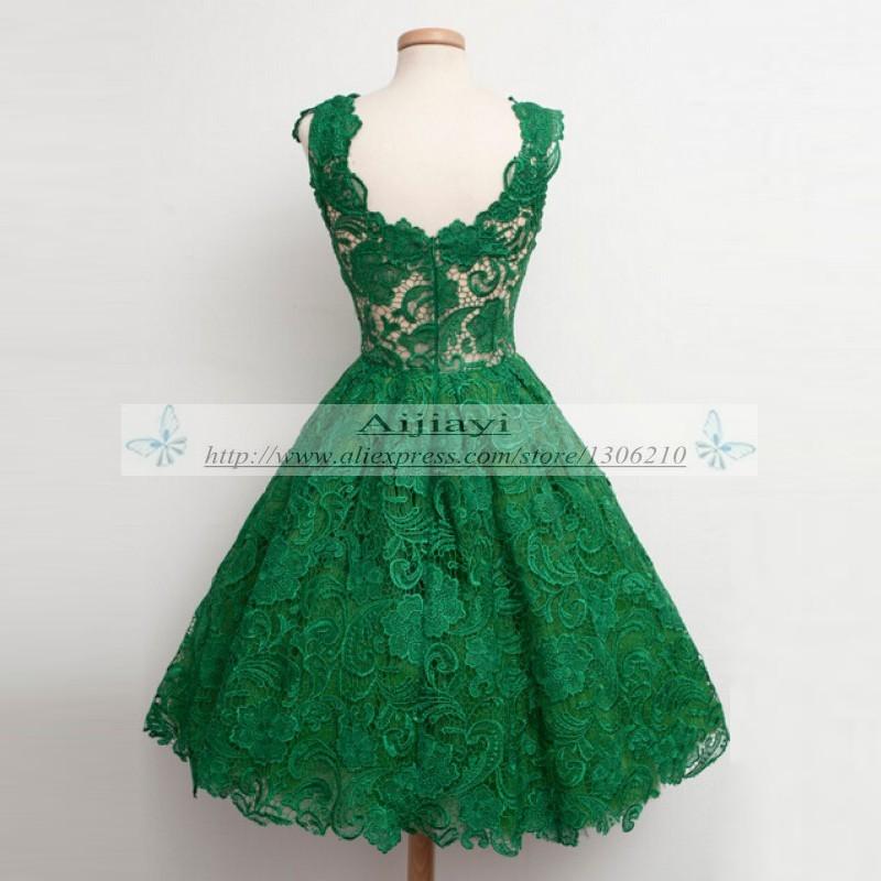 Emerald Green Lace Prom Dresses Classic Tea length Formal Gowns Short Prom  Dresses sleeveless prom dress vestidos de festa YY739 d9f95b86ca34