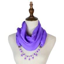 silk scarf pendant necklace scarfs mujer jewellery echarpe hijab feminino fashion spring new plain pendants shawls