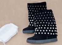 Для женщин сапоги женские ботинки на танкетке из замши жемчуг бисером до середины икры сапоги раза выше обувь для увеличения роста Mujer обувь