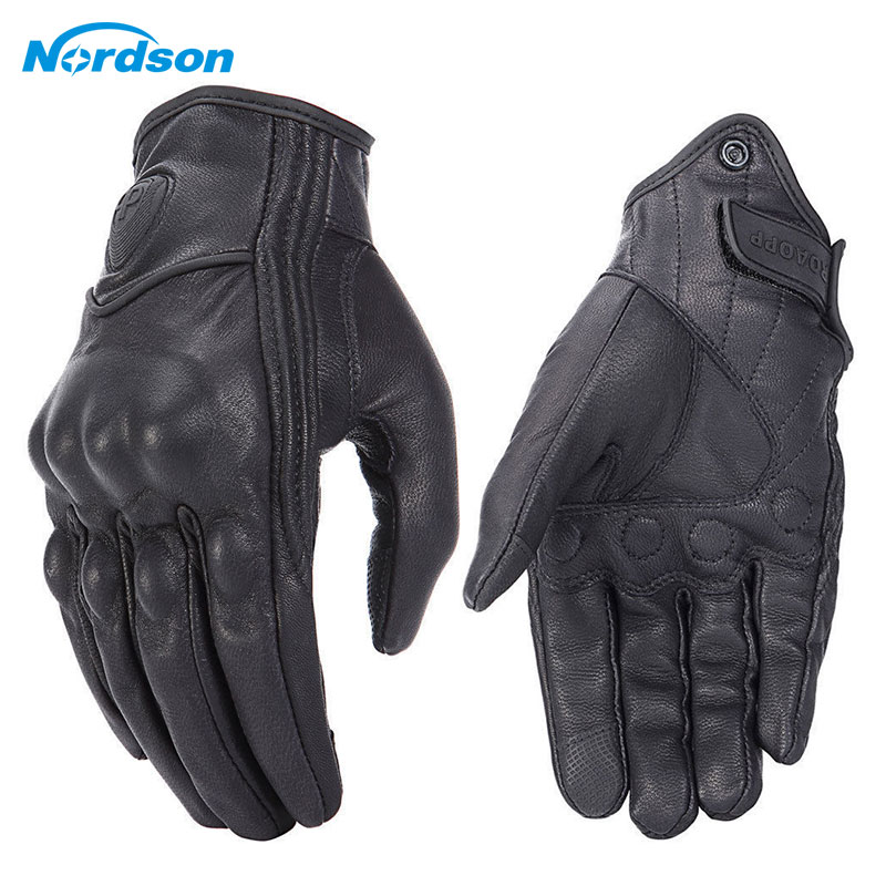 Image 3 - Nordson Retro Motorcycle Gloves Leather Winter Full Finger Waterproof Men Women Motocross Gloves Protective Gears Moto Glove-in Gloves from Automobiles & Motorcycles