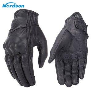 Image 3 - Мотоциклетные Перчатки Nordson, Водонепроницаемые кожаные, с закрытыми пальцами, в стиле ретро, для мужчин и женщин, защитное снаряжение