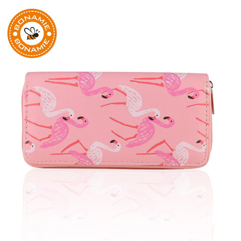 BONAMIE Flamingo Drifting Bottle Pattern Lady Women Long Clutch Purse Wallet Fashion Girl's Card Holder Cute Coin Money Purse fashion girl change clasp purse money coin purse portable multifunction long female clutch travel wallet portefeuille femme cuir