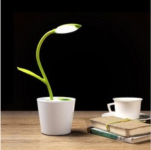 Desk Lamp 3.7V USB Wireless LED Reading Desk Light with 3-way Switching with Decor Plant Pencil Holder LF101