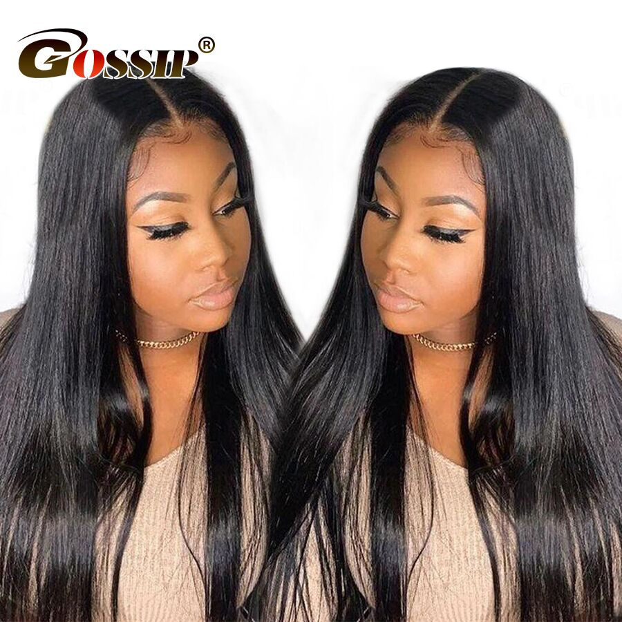 150% Lace Front Human Hair Wigs For Black Women Gossip Brazilian Non Remy Hair Straight 12*6″ Swiss Lace Wig Can Part Anywhere