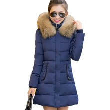 2016 Winter new Women Cotton jacket solid color Outerwear Slim thin fur collar Hooded Down Cotton Coats Thick Warm jacket Coat