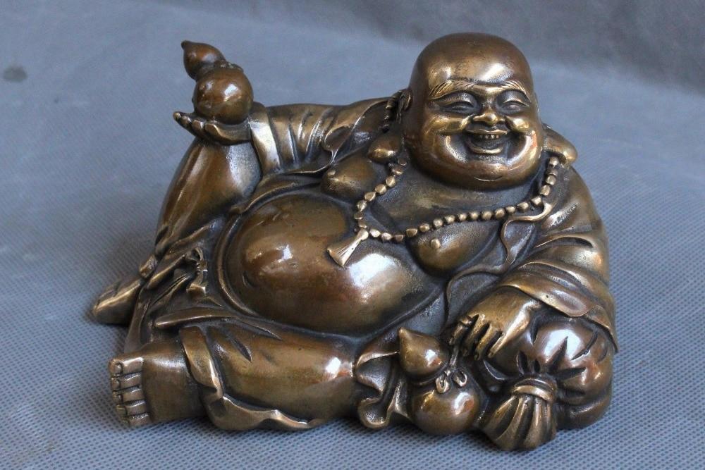 Bouddhisme chinois Bronze richesse joyeux rire Maitreya bouddha gourde StatueBouddhisme chinois Bronze richesse joyeux rire Maitreya bouddha gourde Statue