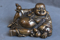 Chinese Buddhism Bronze Wealth Happy Laugh Maitreya Buddha Gourd Statue