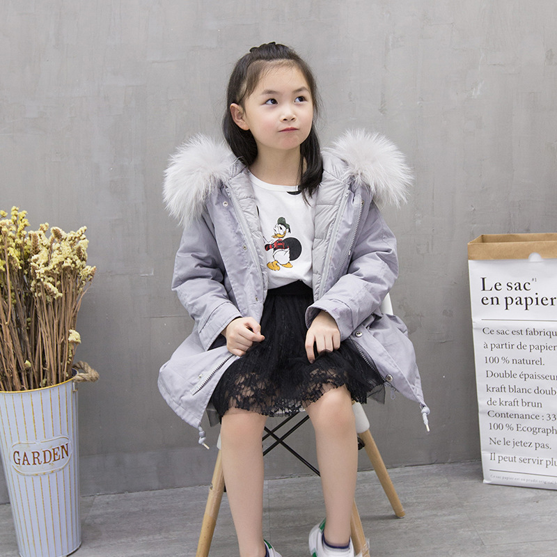 2017 New Fashion Top Luxtury Winter Clothes Children's Fur Jacket Hooded Boy and Girl long Rex Rabbit Fur Coat 2017 new winter jacket women long coat real large raccoon fur collar hooded and real rex rabbit fur thick warm liner