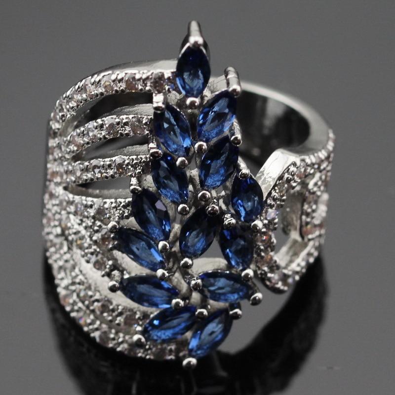 Ashley 2PCS μπλε πέτρες λευκό CZ ασημένια - Κοσμήματα μόδας - Φωτογραφία 2