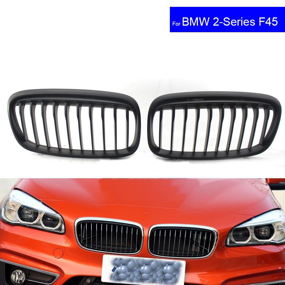 цена на For BMW F45 F46 2 Series 220i 228i 2015 2016 2017 Car Front Hood Kidney Grille Grill Black Auto Bonnet Racing Grills Mat Black