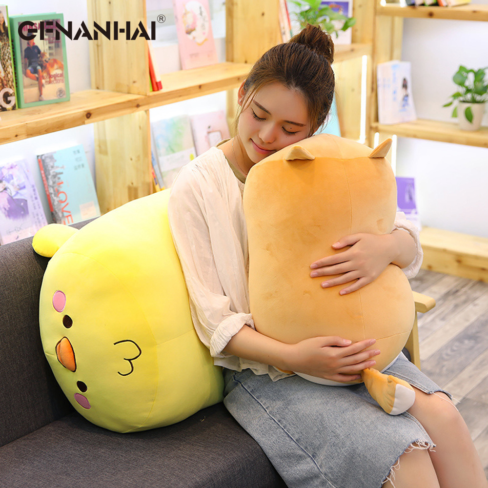 Lovely Animal Pillow Giant Size Yellow Chicken Pink Pig & Shiba Inu Dog Plush toy Stuffed Soft Sofa Cushion Toys Birthday Gift northern europe style double 3d printing ins doll plush sofa stuffed animal child toys birthday xams gift dash pillow cushion