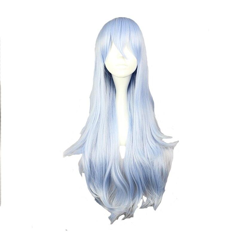 Mcoser 75 см Длинные Синтетические волнистые Косплэй парик светло голубой цвет 100% Высокое Температура Волокно wig-577f
