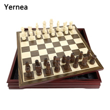 New P[attern Chess Pieces Wood Coffee Table Professional Board Family Games Set Traditional Yernea