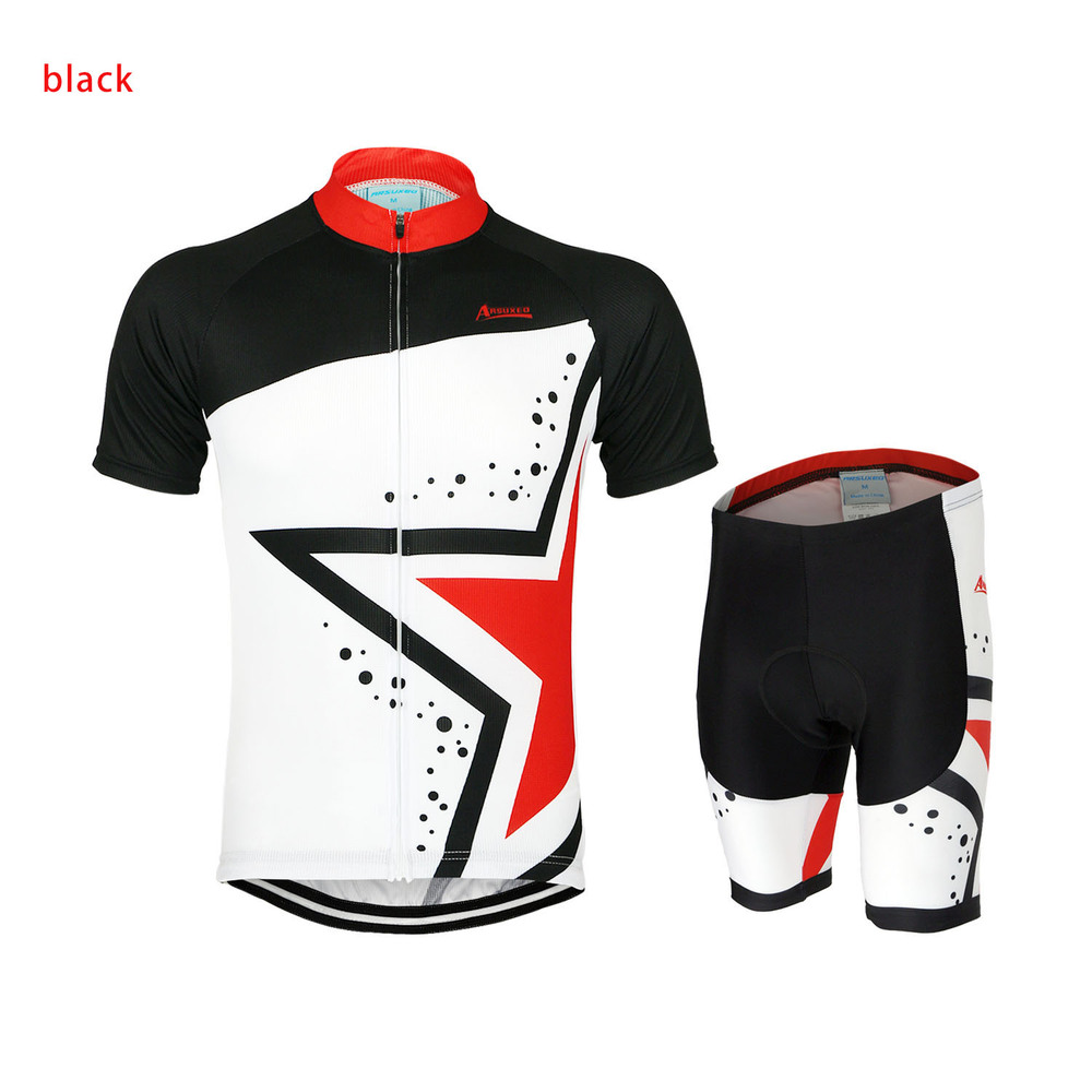 ARSUXEO Mens ropa ciclismo motocross Cycling Short Sleeves MTB Jersey Bike Bicycle Star Sets Shirts Cycling Clothing Sets