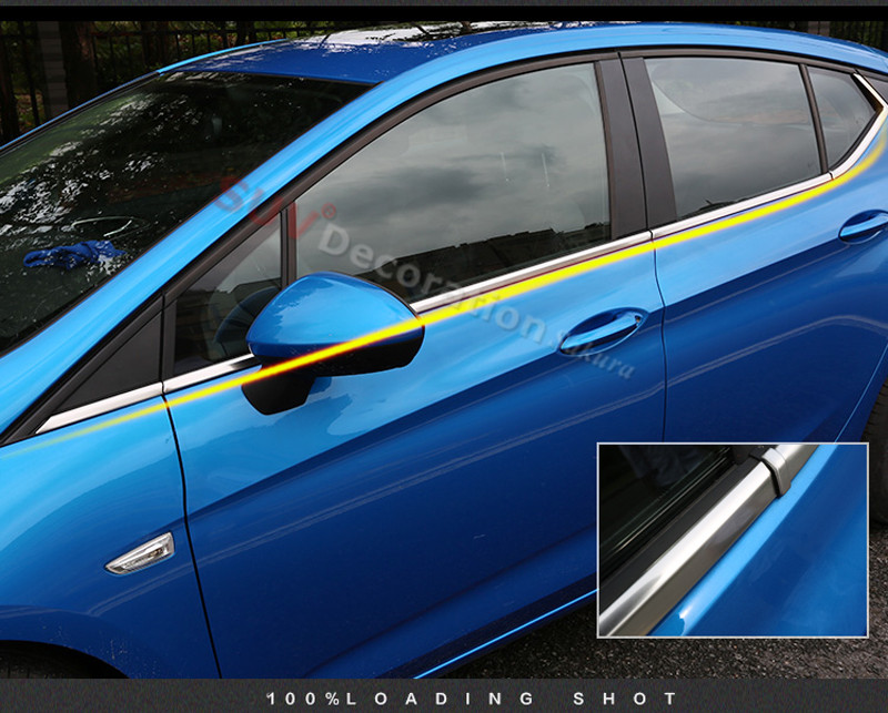Item is only suitable for the hatchback ! for Opel Astra K 2015-2017 Accessories Bottom Window Sill Guard Cover Trim 8pcs 16pcs stainless steel full window trim without center pillar cover 2016 2017 for opel astra k hatchback car styling