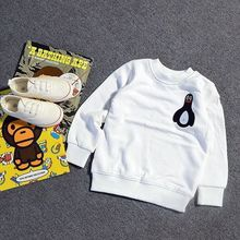 Ins Pattern Penguin Boy Girl Add Wool Cloth Boys Tshirt Girls Winter Tops O Neck Clothing Tees Made Of Clotton Cicishop