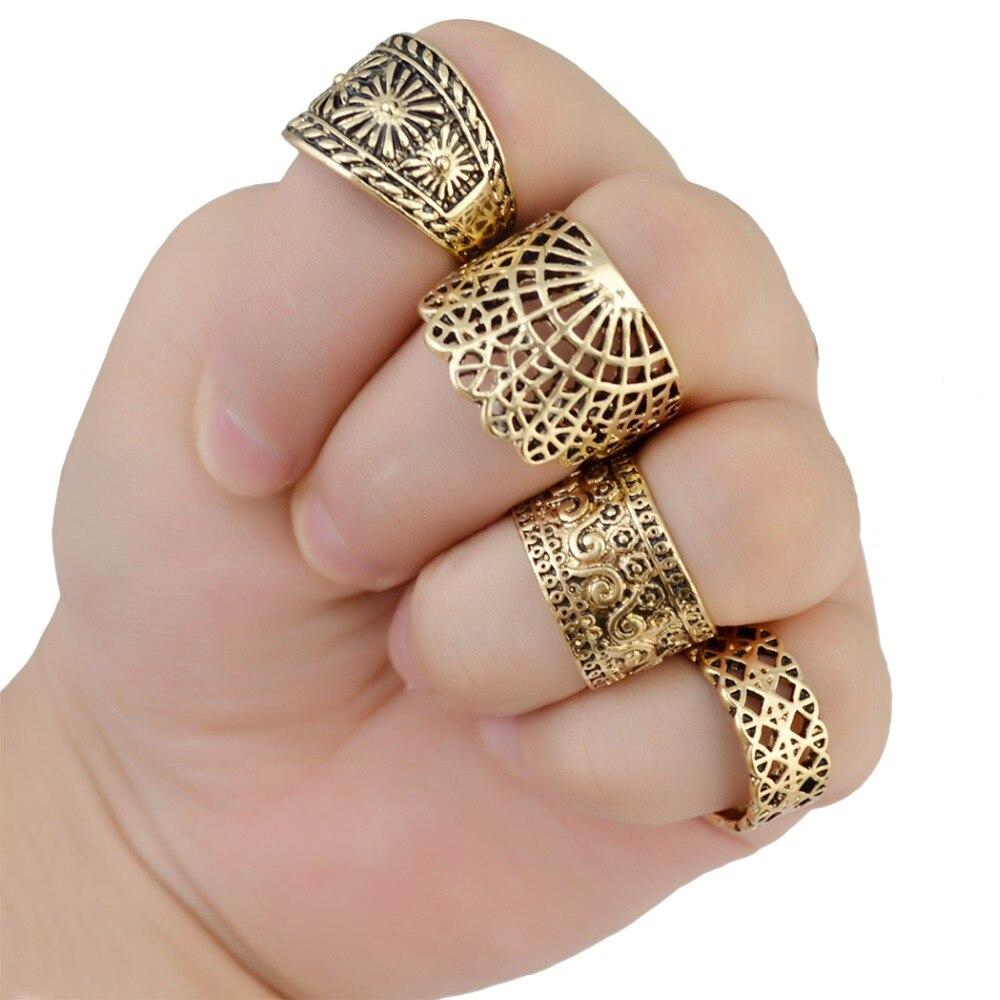 Midi-Rings Jewelry Flower-Shape Vintage Fashion Metal Punk 4pcs/Set Finger Gypsy Carved