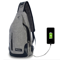 Single Strap Backpack USB Charging One Shoulder Backpack Men Travel Bag Mochila Masculina Sling Rugzak Casual