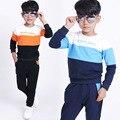 Moda outono meninos adolescentes meninos terno do esporte das crianças das crianças agasalho conjuntos de roupas tarja ocasional 3-12 anos de roupas adolescentes