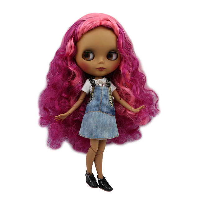 Blyth doll 30cm dark skin matte face Cool pink mixed color curls 1/6 JOINT body ICY SD DIY high quality toys gift