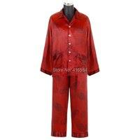 Luxury Chinese Red Short Long Pajama Couple Satin Silk Nightwear Men Silk Pajamas Satin Pjs
